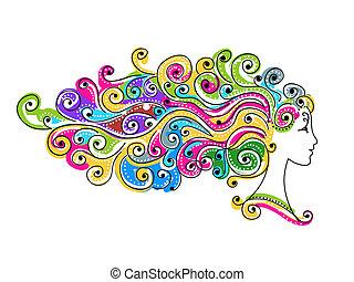testa, colorito, acconciatura, disegno astratto, femmina, tuo