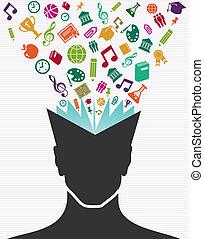 testa, colorito, icone, book., umano, educazione
