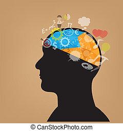 testa, creativo, simbolo