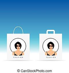 testa, donna, colorare, esso, illustrazione, borsa, carta