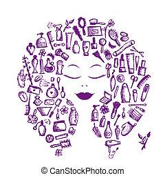 testa, donna, concetto, cosmetico, accessori, disegno, femmina, tuo
