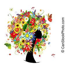 testa, donna, foglia, acconciatura, quattro stagioni, fiori, disegno