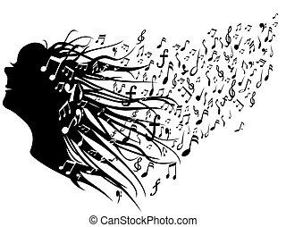 testa, donna, note musica