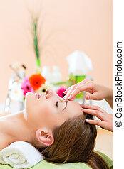 testa, donna, prendere, wellness, -, terme, massaggio