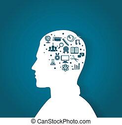 testa, educazione, uomo, icone