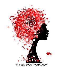testa, fatto, acconciatura, piccolo, disegno, femmina, cuori, tuo