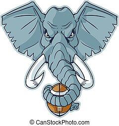 testa, football, elefante, mascotte