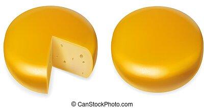 testa formaggio, illustrazione, realistico, vettore, giallo, icona
