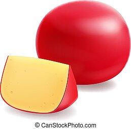 testa formaggio, illustrazione, realistico, vettore, pezzo, rosso, icona