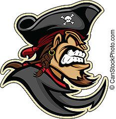 testa, grafico, pizzetto, immagine, cappello, vettore, pirata, pirata, barba, raider, o, mascotte