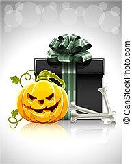 testa, halloween, osso, regalo, zucca