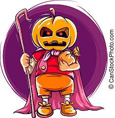 testa, halloween zucca, costume, bambino