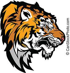 testa, illustrazione, profilo, tiger, mascotte, grafico