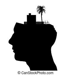 testa, maschio, silhouette