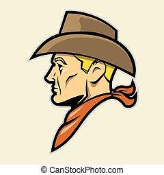 testa, mascotte, cowboy