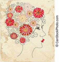 testa, moda, struttura, carta, floreale, ragazza