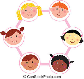 testa, multicultural, bambini, cerchio