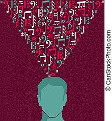 testa, note, illustrazione, musica, umano, uomo