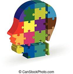 testa, persone, puzzle, cervello, logotipo, icona