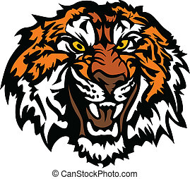 testa, ringhiando, tiger, mascotte, grafico