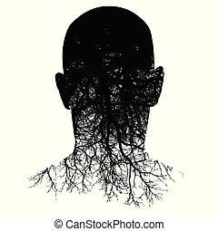 testa, silhouette, questo, morphs, man?s, radici