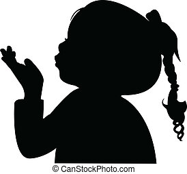 testa, soffiando, bambino, fuori, silhouett