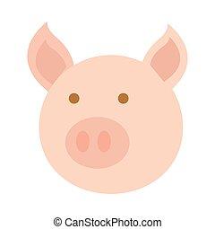 testa, stile, cartone animato, appartamento, maiale, icona, animale, agricoltura, fattoria