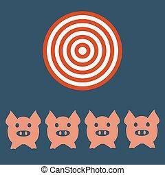 testa, targt, concept., faccia, agricoltura, icon., maiale, agricoltura, o