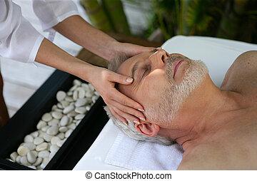 testa, terme, ricevimento, giorno, massaggio, uomo