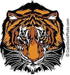 testa, tiger, mascotte, grafico