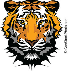 testa, tiger, vettore, mascotte, grafico
