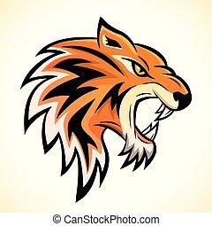 testa tigre, concetto, vettore, mascotte