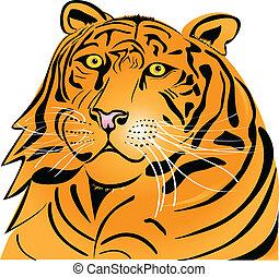 testa tigre, silhouette
