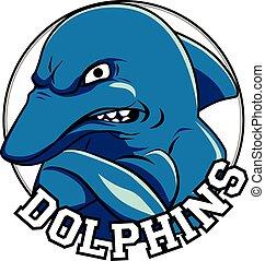 testa, titolo, delfino, logotipo, delfini, mascotte