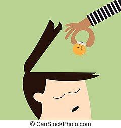 testa, umano, luce, su, mano, analogia, rubare, bulbo, scegliere, ideas1