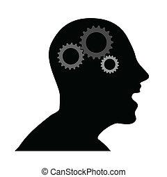 testa, vettore, umano, ingranaggi, illustrazione