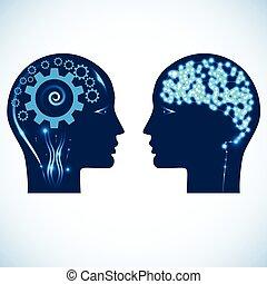 teste, ingranaggio, persone, due, splendere, cervello, ruote