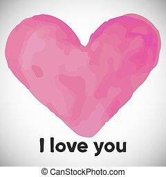 testo, acquarello, giorno, valentines, cuore, st, matrimonio, vettore, o, rosa