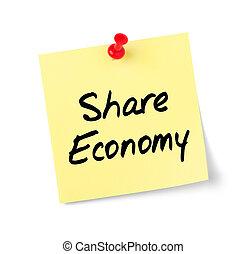 testo, azione, nota gialla, carta, economia