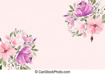 testo, bello, spazio, acquarello, fondo, fiori