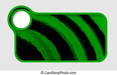 testo, cornice, vettore, verde