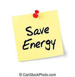 testo, energia, nota gialla, carta, risparmiare