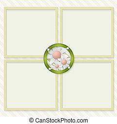 testo, frecce, quattro, scatole, entrare, fiori