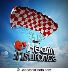 testo, illustrazione, parachute., salute, atterraggio, assicurazione, 3d