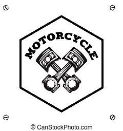 testo, immagine, vettore, motocicletta, fondo, esagono