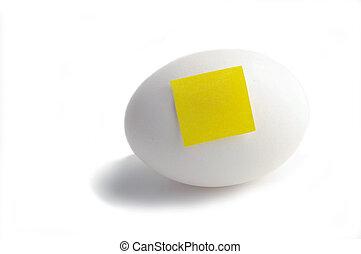 testo, nota gialla, carta, vuoto, uovo