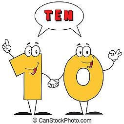 testo, numero, dieci