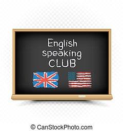 testo, parlante, inglese, disegnare, lavagna, club