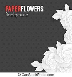 testo, rose, carta, posto, fondo, origami, fiori bianchi