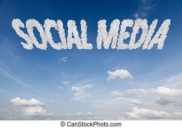 testo, sociale, nubi, media, concetto